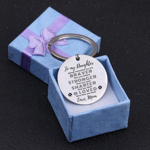 engraved round keychain for daughter
