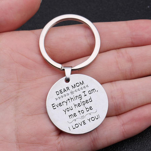 engraved round keychain for mom