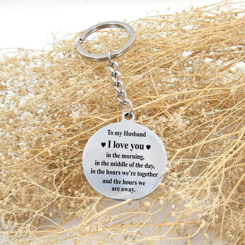 engraved circle keychain for husband