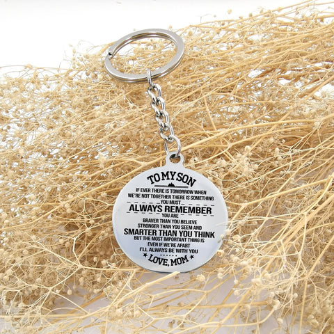 circle keychain with engraved message for son