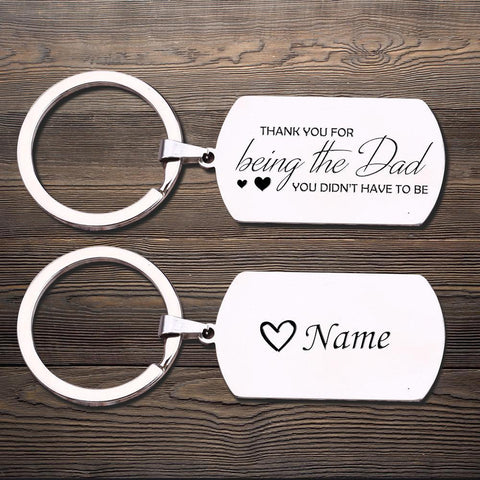 dog tag engraved keychain for dad with name personalization