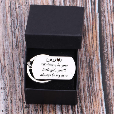 engraved dog tag keychain for dad in a gift box