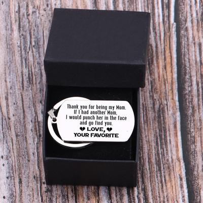 dog tag engraved keychain for mom in a gift box