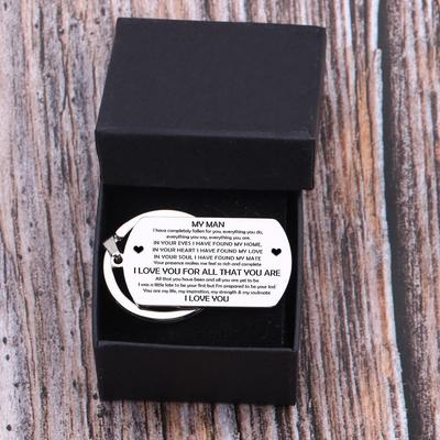 dog tag engraved keychain for boyfriend, husband in a gift box