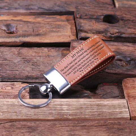 Engraved leather key chain