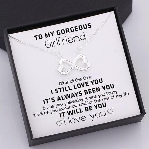 infinity heart necklace for girlfriend with love message in a gift box
