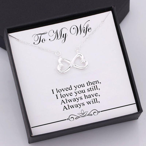 infinity heart necklace for wife with love message in a gift box