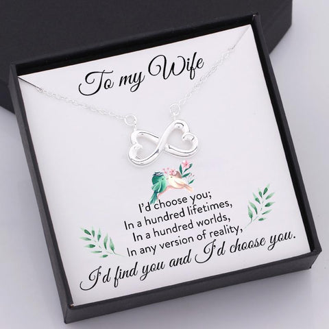 infinity heart necklace with love message in a gift box for wife