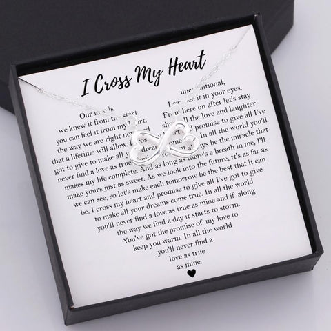 infinity heart necklace with love message in a gift box for wife, girlfriend