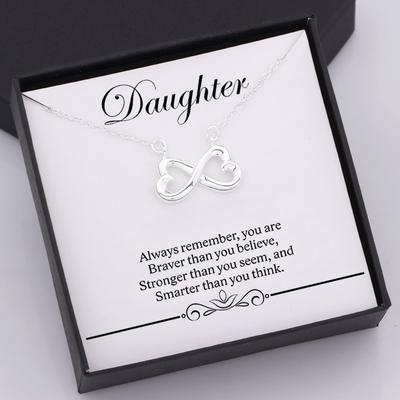 nfinity heart necklace for daughter with love message in a gift box