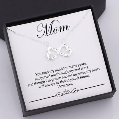 nfinity heart necklace for mom with love message in a gift box with name personalization