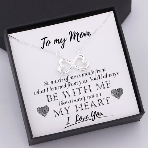 nfinity heart necklace for mom with love message in a gift box
