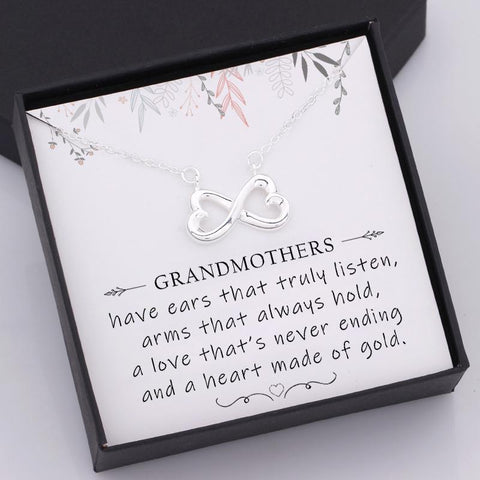 nfinity heart necklace for grandmother with love message in a gift box