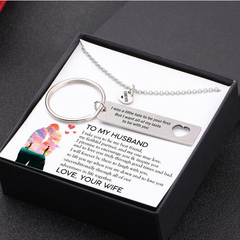 keychain and necklace gift set for husband with love message in a gift box