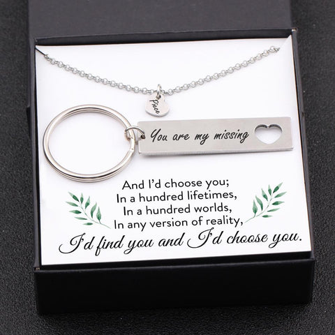 keychain and necklace gift set for your love with love message in a gift box