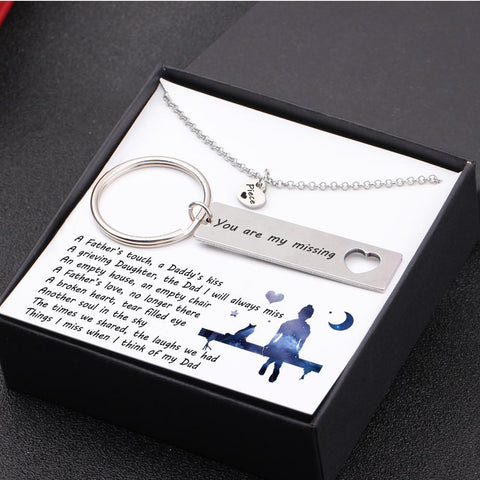 keychain and necklace gift set for dad with love message in a gift box