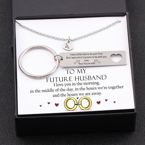 keychain and necklace gift set for future husband with love message in a gift box