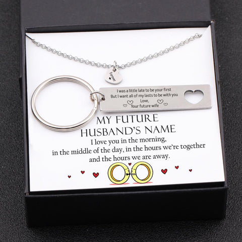keychain and necklace gift set for future husband with love message in a gift box and name personalization