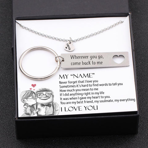 heart necklace and keychain with love message and name personalization