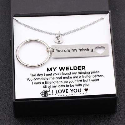 keychain and necklace gift set for welder boyfriend, husband with love message in a gift box