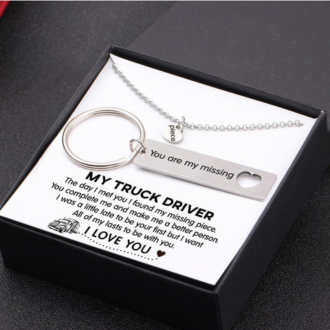keychain and necklace gift set for your boyfriend, husband with love message in a gift box