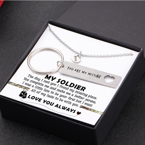 keychain and necklace gift set for your soldier boyfriend, husband with love message in a gift box
