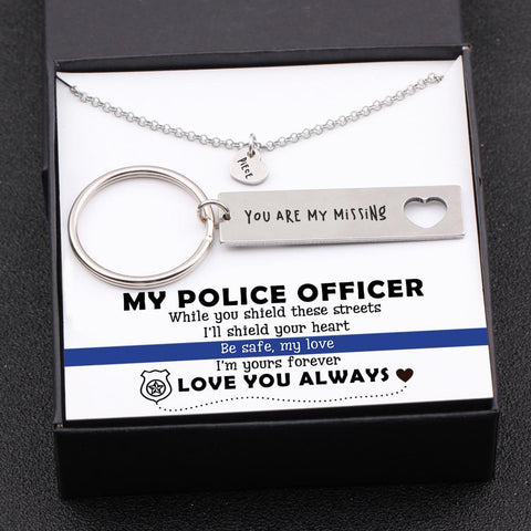 keychain and necklace gift set for police officer boyfriend, husband with love message in a gift box