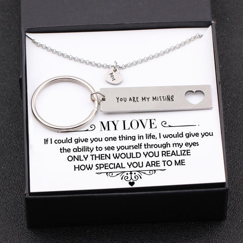 keychain and necklace gift set for your loved one with love message in a gift box