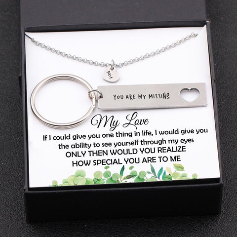 Heart Necklace and Keychain Gift Set for Couples.