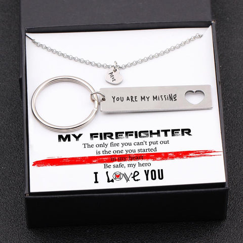 keychain and necklace gift set for your firefighter boyfriend, husband with love message in a gift box