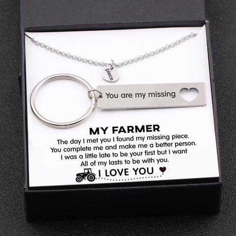 keychain and necklace gift set for your farmer boyfriend, husband with love message in a gift box