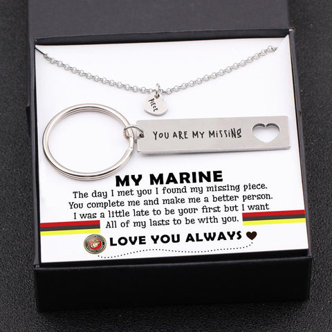 keychain and necklace gift set for marine boyfriend, husband with love message in a gift box