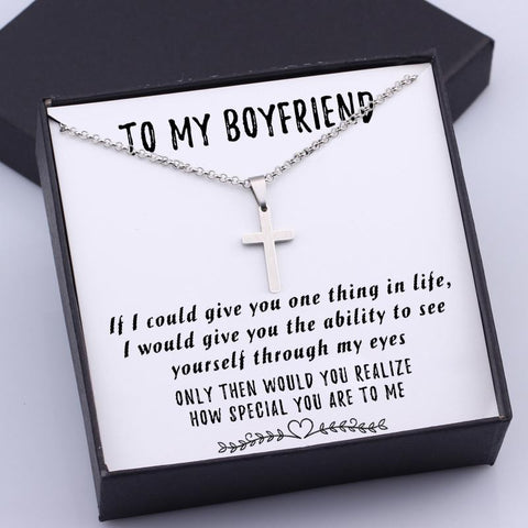 cross necklace with love message in the gift box