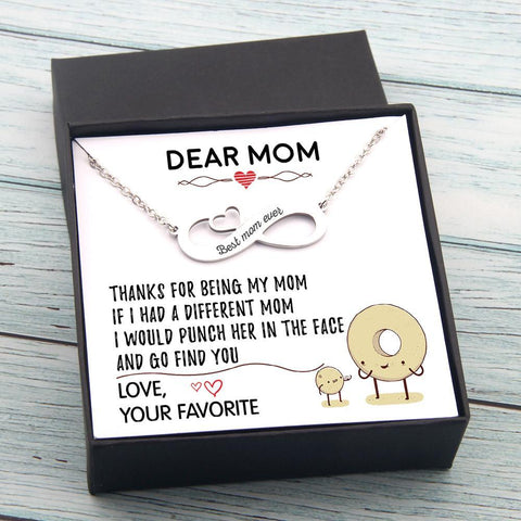 personalized infinity necklace for mom with love message in a gift box