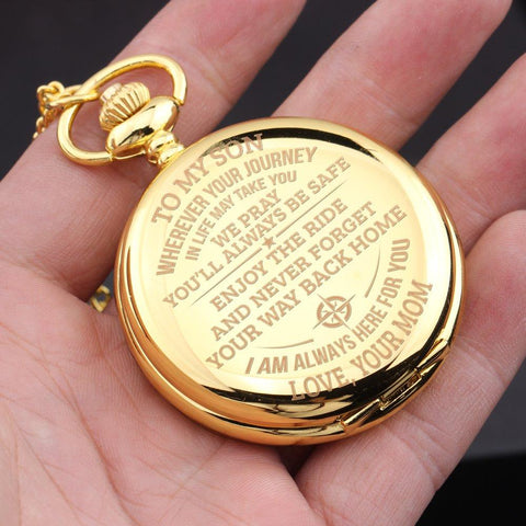 gold pocket watch with engraved message