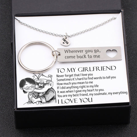 Keychain and necklace gift set for girlfriend