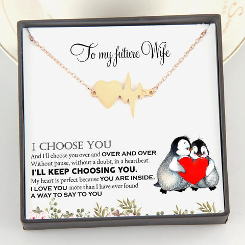 Heartbeat Necklace with love message in a gift box