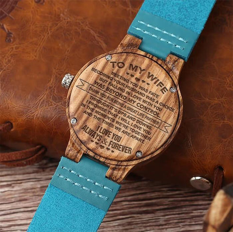 blue wooden watch with engraved message for wife