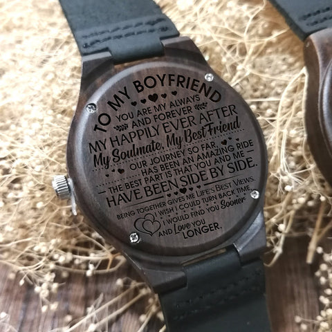 engraved wooden watch to boyfriend