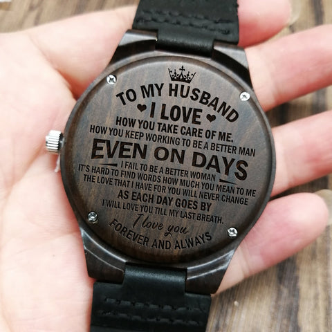 engraved wooden watch to husband
