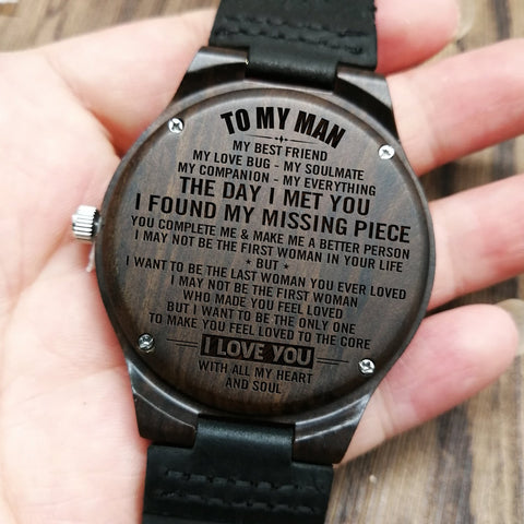 engraved wooden watch to husband, boyfriend