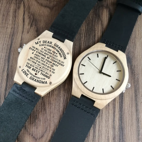 engraved wooden watch for grandson