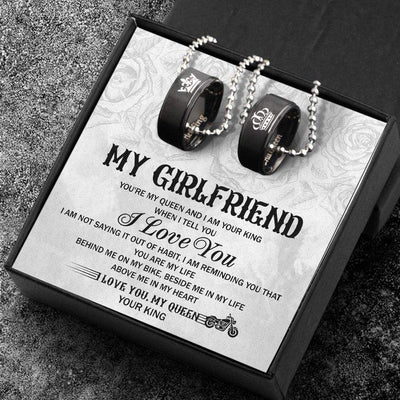 Biker Couple Pendant Necklaces - Her King His Queen Crown Letter Necklaces - My Girlfriend - Gnw13003