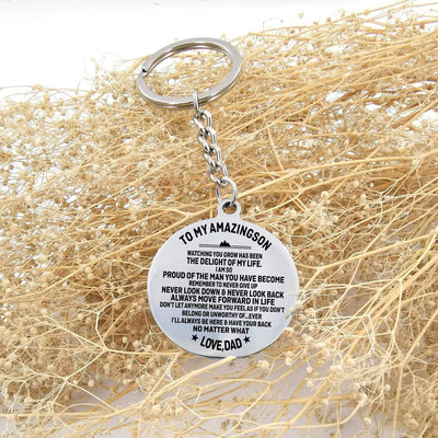 Circle Keychain - To My Amazing Son I'll Always Be Here - Gkm16009