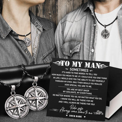 Compass Necklace - Biker Gift Idea - Ride Safe & Come Home To Me - Old School Bike - Glz26001