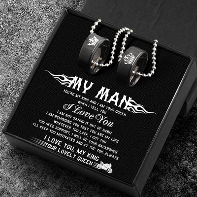 Couple Pendant Necklaces - Her King His Queen Crown Letter Necklaces - For Super Bike Man - GNW26002