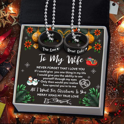 Couple Pendant Necklaces - To My Wife - All I Want For Christmas Is You - Gnw15026