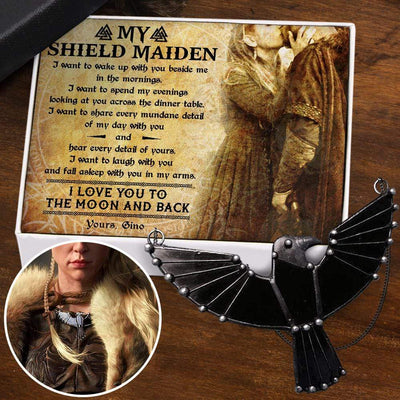 Dark Raven Necklace - My Shieldmaiden - I Love You To The Moon And Back - Gncm13010