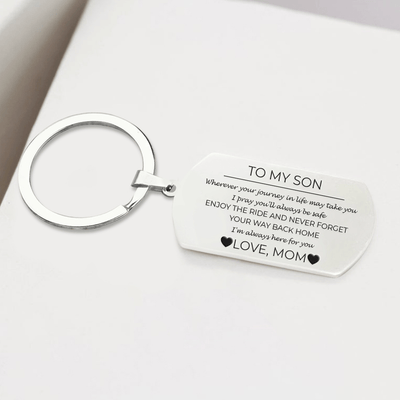 Dog Tag Keychain - To My Son - From Mom - I'm Always Here For You - Gkn16005