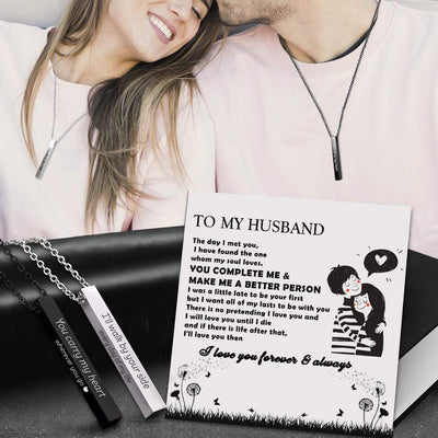 Engraved Bar Couple Necklaces - To My Husband - I Want All Of My Lasts To Be With You - Gney14002